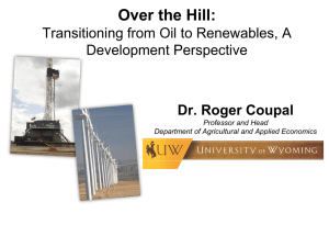 Over the Hill: Transitioning from Oil to Renewables, A Development Perspective