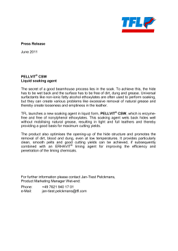 Press Release PELLVIT CSW Liquid soaking agent