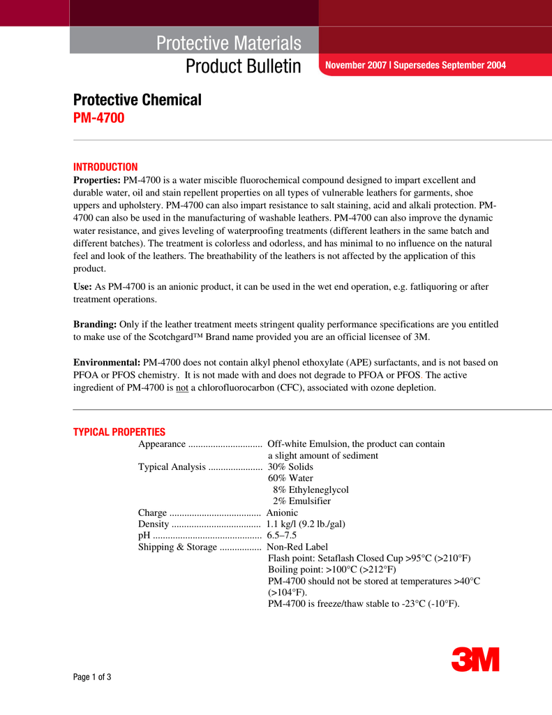 Protective Materials Product Bulletin Protective Chemical PM