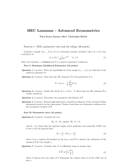 HEC Lausanne - Advanced Econometrics