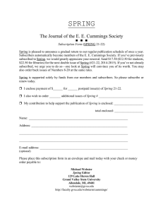 SPRING  The Journal of the E. E. Cummings Society