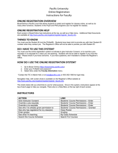 Pacific University Online Registration Instructions for Faculty ONLINE REGISTRATION OVERVIEW