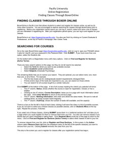 Pacific University Online Registration Finding Classes Through BoxerOnline FINDING CLASSES THROUGH BOXER ONLINE