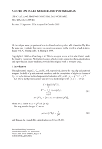 A NOTE ON EULER NUMBER AND POLYNOMIALS