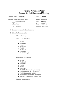 Faculty Personnel Policy Agenda for Unit Personnel Meeting