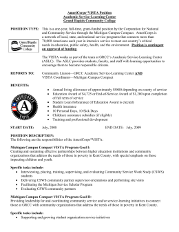 AmeriCorps*VISTA Position Academic Service-Learning Center Grand Rapids Community College