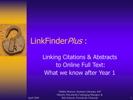 Plus LinkFinder : Linking Citations & Abstracts