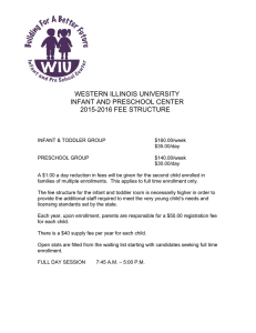 WESTERN ILLINOIS UNIVERSITY INFANT AND PRESCHOOL CENTER 2015-2016 FEE STRUCTURE