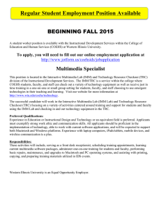 Regular Student Employment Position Available BEGINNING FALL 2015