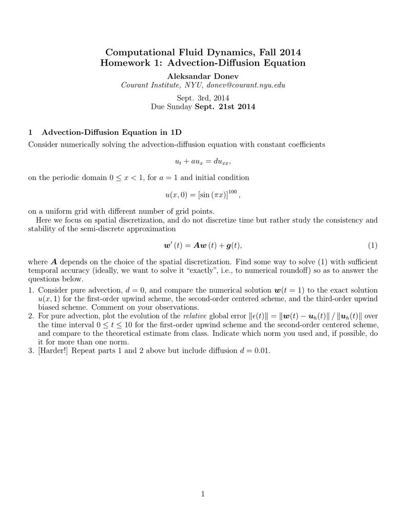 Computational Fluid Dynamics, Fall 2014 Homework 1: Advection