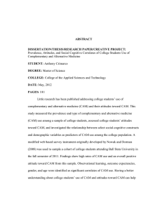 ABSTRACT DISSERTATION/THESIS/RESEARCH PAPER/CREATIVE PROJECT: Complementary and Alternative Medicine
