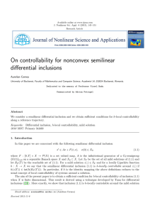 On controllability for nonconvex semilinear differential inclusions Aurelian Cernea