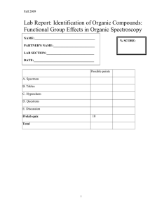 Lab Report: Identification of Organic Compounds: