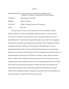Abstract  REAEARCH PAPER:  Using Empowerment to Build Trust and Respect... Workplace: A Strategy for Addressing the Nursing Shortage