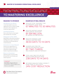 From Practicing ExcEllEncE to Mastering excellence 67 minutEs to 30 minutEs