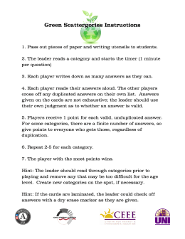 Green Scattergories Instructions