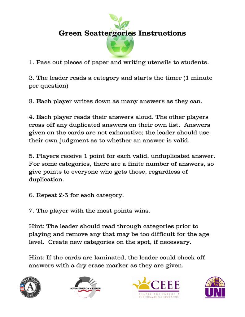 Green Scattergories Instructions