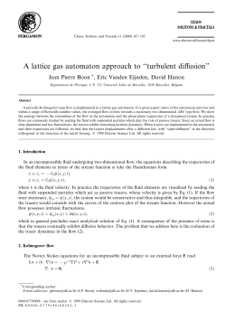 A lattice gas automaton approach to ``turbulent di€usion'' Jean Pierre Boon *