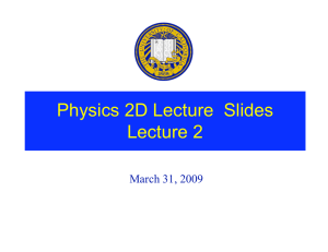 Physics 2D Lecture  Slides Lecture 2 March 31, 2009