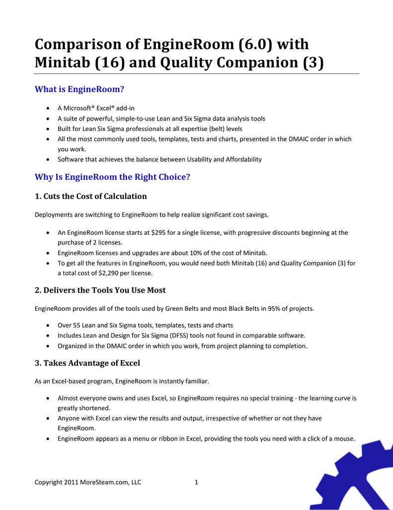 Comparison of engineroom 60 with minitab 16 and quality comparison of engineroom 60 with minitab 16 and quality companion 3 what is engineroom nvjuhfo Images