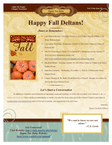 Happy Fall Deltans! Dates to Remember: