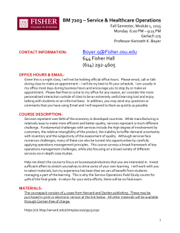 BM 7203 – Service & Healthcare Operations   644 Fisher Hall