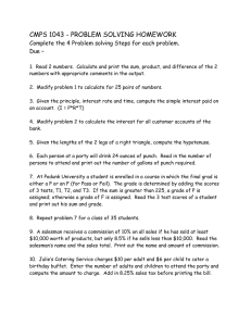 CMPS 1043 - PROBLEM SOLVING HOMEWORK Due –