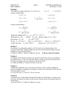 PHYSICS 2D QUIZ 1 WINTER QUARTER 2016 PROF. HIRSCH
