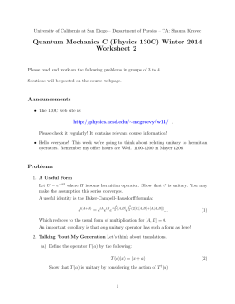 Quantum Mechanics C (Physics 130C) Winter 2014 Worksheet 2