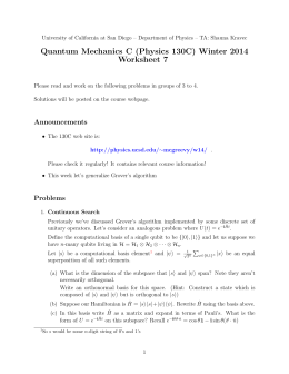 Quantum Mechanics C (Physics 130C) Winter 2014 Worksheet 7