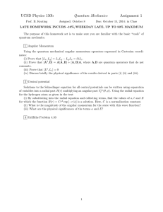 UCSD Physics 130b Quantum Mechanics Assignment 1
