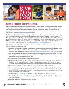 read FIVE Summer Reading Tips for Educators