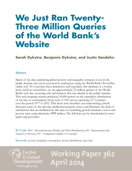 We Just Ran Twenty- Three Million Queries of the World Bank's Website
