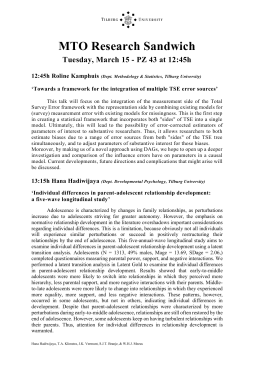 MTO Research Sandwich Tuesday, March 15 - PZ 43 at 12:45h