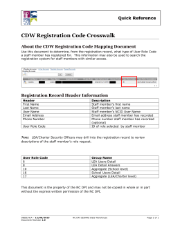 CDW Registration Code Crosswalk Quick Reference