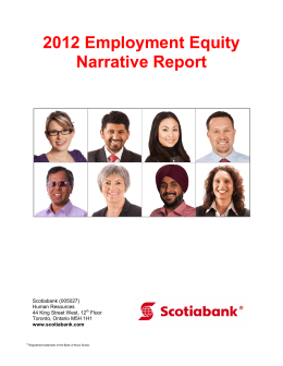 2012 Employment Equity Narrative Report Scotiabank (005027) Human Resources