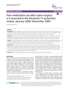 Pain medication use after spine surgery: review, January 2000–December 2009