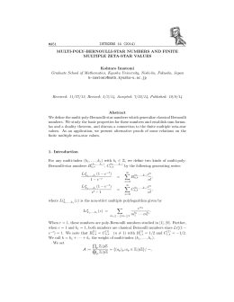 INTEGERS 14 (2014) #A51 MULTI-POLY-BERNOULLI-STAR NUMBERS AND FINITE MULTIPLE ZETA-STAR VALUES