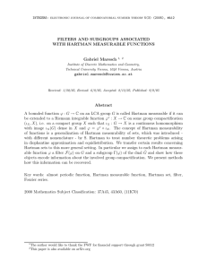 FILTERS AND SUBGROUPS ASSOCIATED WITH HARTMAN MEASURABLE FUNCTIONS Gabriel Maresch