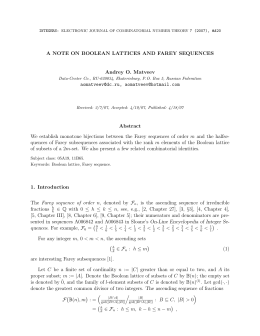 A NOTE ON BOOLEAN LATTICES AND FAREY SEQUENCES Andrey O. Matveev ,