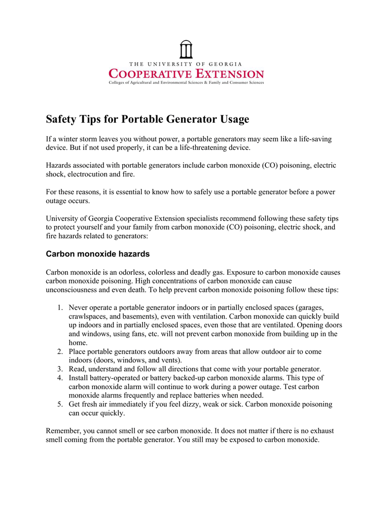 power generator safety tips