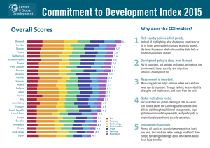 Commitment to Development Index 2015 1 Overall Scores Why does the CDI matter?