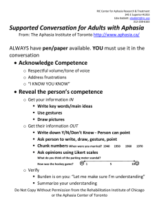 Supported Conversation for Adults with Aphasia Acknowledge Competence Reveal the person's competence