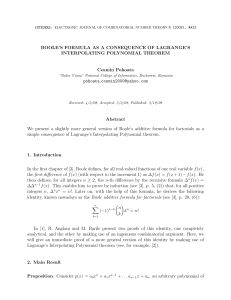 BOOLE'S FORMULA AS A CONSEQUENCE OF LAGRANGE'S INTERPOLATING POLYNOMIAL THEOREM Cosmin Pohoata pohoata