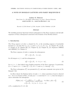 A NOTE ON BOOLEAN LATTICES AND FAREY SEQUENCES II ,