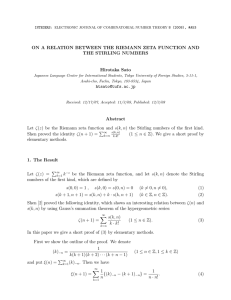ON A RELATION BETWEEN THE RIEMANN ZETA FUNCTION AND Hirotaka Sato