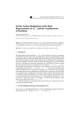 On the Various Realizations of the Basic Representation of A of Partitions