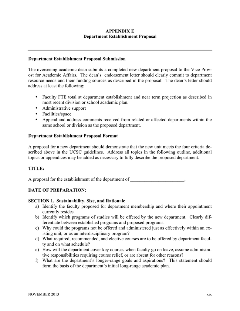 APPENDIX E Department Establishment Proposal Department