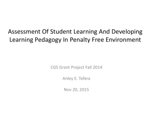 Assessment Of Student Learning And Developing CGS Grant Project Fall 2014