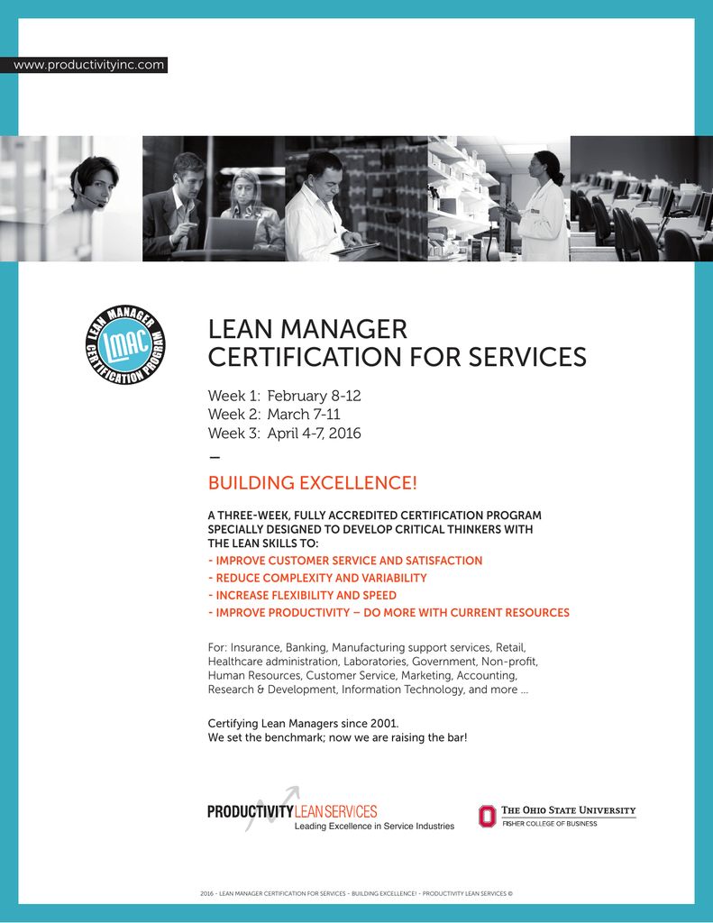 Lean Manager Certification For Services Building Excellence